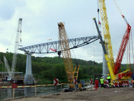 Construction of pedestrians and cyclists bridge in Alytus over the river Nemunas