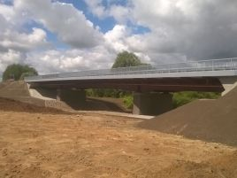 Construction of bridge in Pilviškiai over the river Šešupė